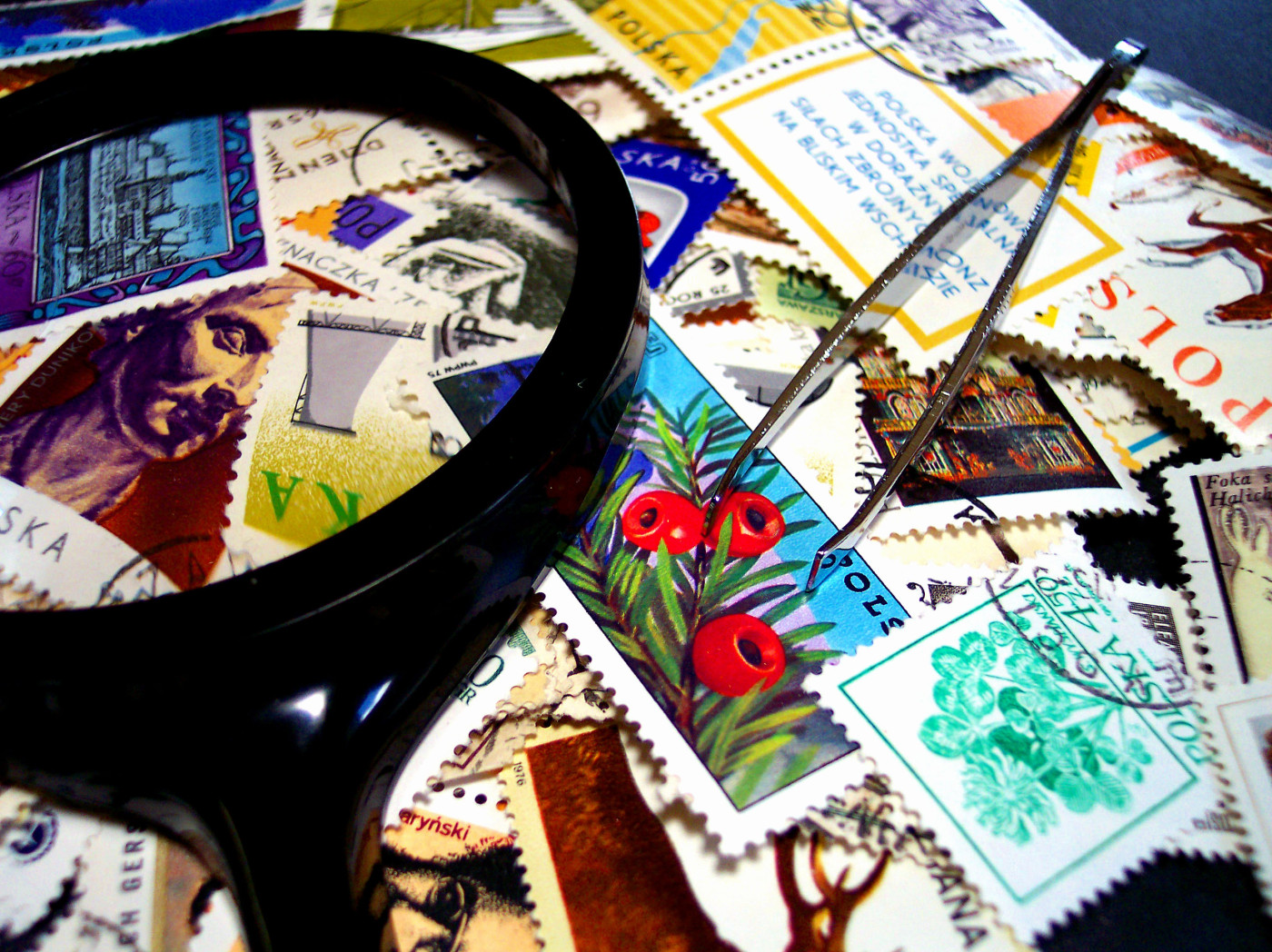 Magnifying Glass & Stamps